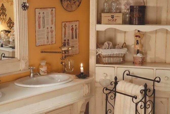 accessori bagno rustico: legno, ceramica, ferro battuto