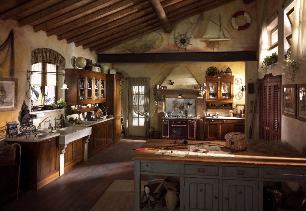 Illuminazione cucina rustica: lampadario, punti luce