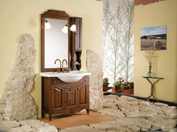 Lavabo bagno rustico ceramica pietra rame - Arredamento bagno arte povera ...