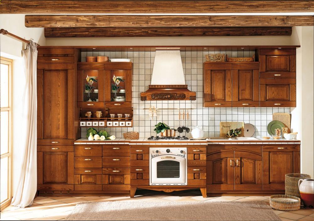 Pareti cucina rustica bianco mattonelle - Mobili rustici per cucina ...
