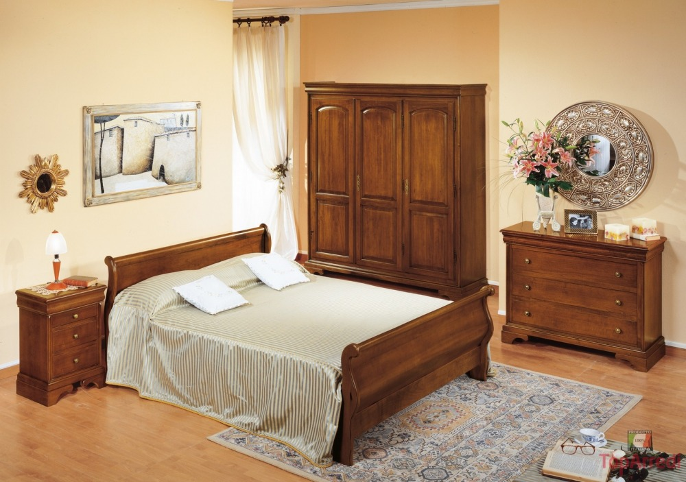 camera da letto rustica: legno, ferro battuto
