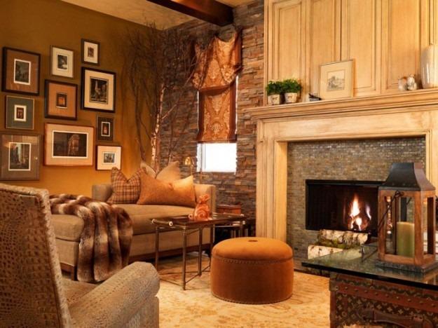 Pareti soggiorno rustico: giallo, terra