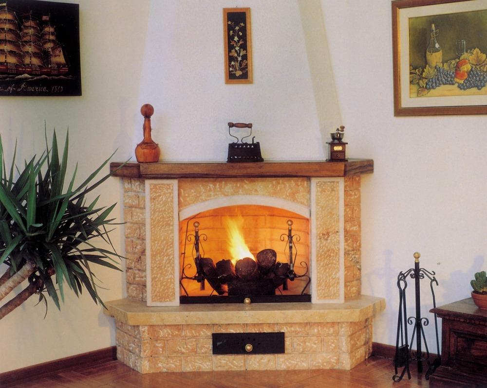 caminetti rustici: muratura, legno