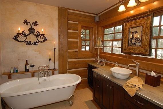 Pareti bagno rustico: legno, ceramica